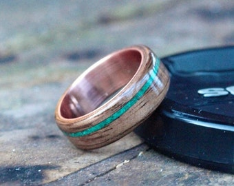 Wooden Rings - Bentwood Chrysocolla and Walnut Inlay Rings - Mens Wood Rings, Womens Wood Rings, Wood Engagement Rings, Wood Wedding Bands