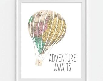 Adventure Awaits Art Print, Hot Air Balloon, Baby Nursery Wall Art, Baby Nursery Decor, Nursery Print, Nursery Map, Nursery Wall Art