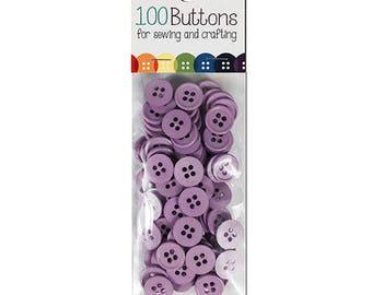 100 buttons Purple 12mm in diameter