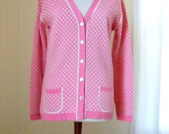 Pink and White Check Vintage Cardigan 60s 70s French Fashion Women Sz Large