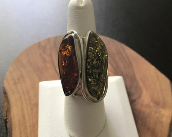 Baltic Amber Ring, Two Large Stones, One Green Amber One Honey Amber, Sterling Silver 925.