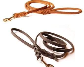 XS Leather Dog Lead -- Lightweight for Small Breed Dogs, premium black or tan leather in your choice of length