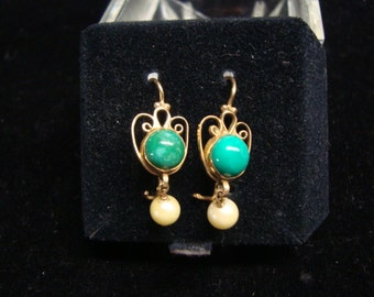 14 K Gold, Pearl & Green Stone Earrings