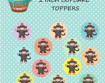 Instant download sock monkey cupcake toppers