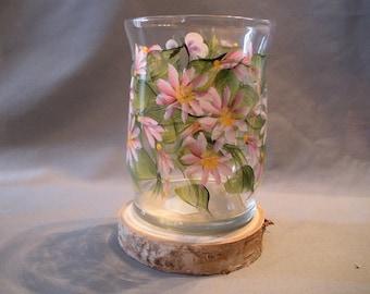 Handpainted Pink Daisy Glass Hurricane Candleholder