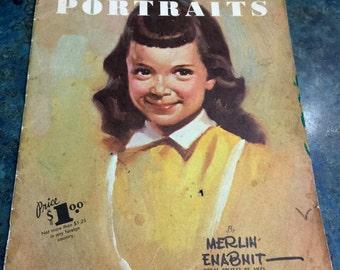 Vintage Merlin Enabnit Color Portraits Art Book 1950 Era