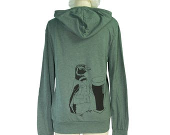 Pine Green Beer Penguin Screen Printed Long Sleeved Hoodie, Lightweight, Sustainable, Eco-Friendly, Men, Women, Unisex, Gifts for Him or Her