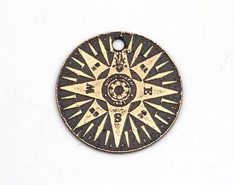 Round copper compass charm, round flat etched metal, 25mm