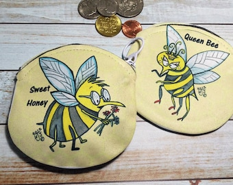 Coin Purse Bees Queen Bee 3 Options 4x4 Round Yellow Royal Hive Wallet for Change Earbuds Gift Cards Makeup