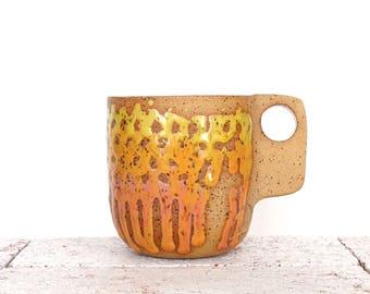 Sunset Ceramic Mug- Square Handle- yellow and orange mug- clay mug- tea mug- breakfast set- pink mug- READY TO SHIP