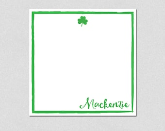 Shamrock personalized note pad, St. Patrick's Day, Personalized Note Pad, Square Memo Pad, Custom Notepads, Personalized Gifts, Stationery