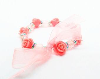 Flower Girl Bracelet Flower Bracelet Baby Girl Bracelet Toddler Bracelet Wedding Bracelet Rose Bracelet Rose Flower Bracelet Girls Bracelet