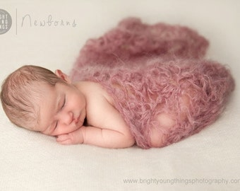 Mohair Wrap / Newborn Photography Posing Blanket / Dusky Pink