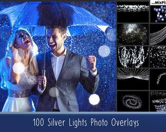 100 Silver lights, Effect, Photo Overlays, Bokeh, Photoshop Overlays, Christmas overlays, sparkles effect, Wedding Overlay, Tree Lights