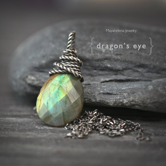 Dragon's Eye - Twisted Wire Wrapped Blue Green Flashy Labradorite Briolette Sterling Silver Necklace
