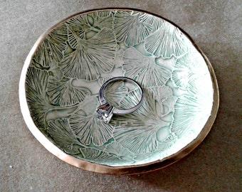 Ceramic Ring Bowl Trinket bowl Ginko leaves Gold edged Pale Sea green