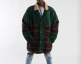 Vintage green and red aztec coat / Navajo printed wool coat / South Western ladies coat / Vintage men printed coat / Blanket coat / Size XL