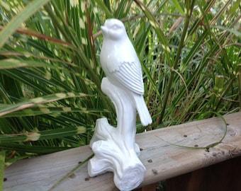 Vintage White Bird Statue Glazed Bird Statue White Bird on Tree Limb