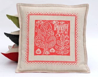 Red Folky Hand Printed  cushion cover /Sale Pillow Cover/ Square Living Room Cushion