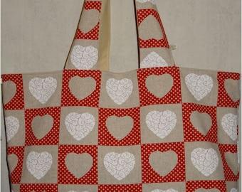 Jolitissu pattern hearts tote bag