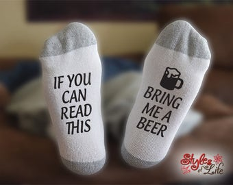 Beer Socks, If You Can Read This Bring Me A Beer, Socks For Men