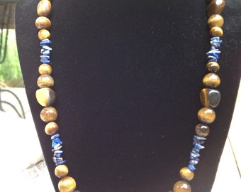 Genuine Tigers Eye and Lapis Chip Accent necklace