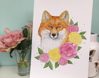 Fox Watercolour Art Print, A5 and A4 sizes, Wildlife Foxy Illustration, 240gsm, animal lover gift