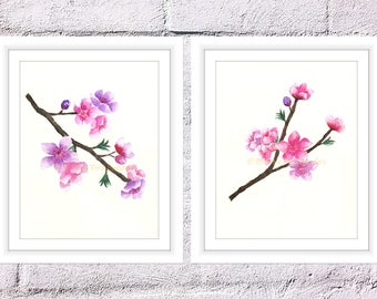 Set of 2 Cherry Blossoms Print, Watercolor Blossoms, Watercolor Sakura Flowers, Spring Blossoms Print, Mothers Day Gift