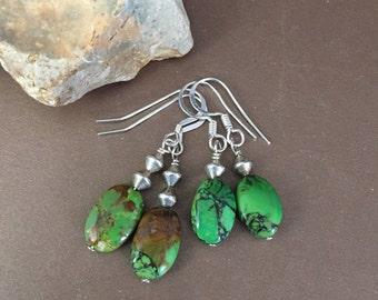 Southwestern Genuine Mojave Turquoise Earrings, Green Turquoise Silver Dangle Earrings, Green Gemstone Drop Earrings, Western Jewelry