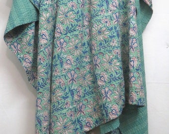 Reversible Vintage Cotton Kantha Throw, Hand Block Printed Kantha Quilt, Indian Handmade Kantha Blanket, Home Decor Twin Size Bed Cover