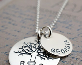 Family Oak Tree Necklace - Personalized Tree of Life Necklace w/ Initials and Child's Name by EWDjewelry - Gifts for New Mom