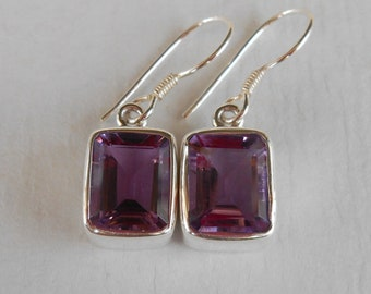 Amethyst gemstones Silver Dangle Earrings / Bali handmade jewelry / silver 925 / 1.15 inch long
