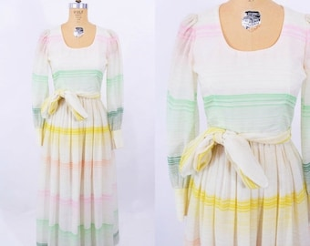 1970s striped dress | pastel striped sheer sleeve boho maxi dress | vintage 70s maxi | W 25""