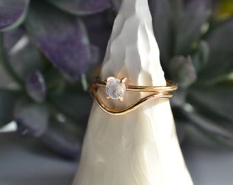 Moonstone Stacking Ring Set - Moonstone Ring + Curved Stacking Ring - Sterling Silver & 14k Gold Fill