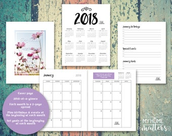 2018 Daily Planner, 2018 Agenda, Printable Planner Pages, Hourly Dated, Day on 1 Page, 8.5x11 full size, Planner for Creative Entrepreneurs