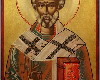 Saint St Nicholas the Wonderworker Hand-Painted Orthodox Byzantine Icon on Wood 30 x 20cm