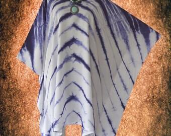 Indigo Shibori Hand dyed Artwork Poncho Cover Up Top blouse