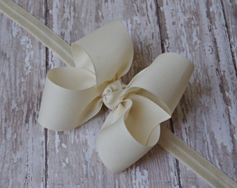Ivory Baby Headband Off White Big Bow Headband Cream Baby Headband Ivory Toddler Headband Large Bow Headband New Baby Gift