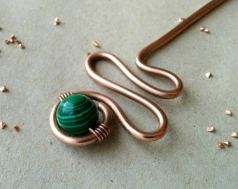 Copper hair stick with malachite stone, copper hair pin,  hammered hair stick, boho hair jewelry, handmade hair accessories