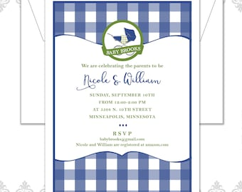 Plaid Baby Carriage Shower Invitation, Baby Shower Invite, Carriage Baby Shower, Modern Shower Invite, Plaid Blanket, Plaid Pattern Invite