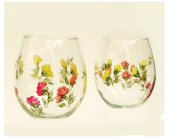 Hand-Painted Stemless Wine Glasses - Multi Color Roses Red Orange Peach Yellow Set of 2 - Hostess Summer Wedding Gift Idea