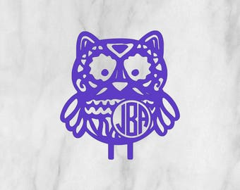 Aztec Monogram Owl Decal / Monogram sticker / monogram / initial monogram / vinyl decal / car decal / tumbler decal / circle monogram
