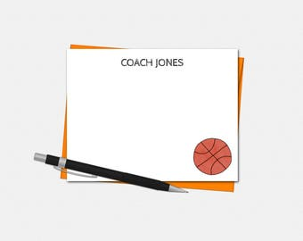 Basketball Note Cards - Personalized Basketball Note Cards - Coach Note Cards - Set of 10 - Flat Note Cards - Basketball Coach Stationery