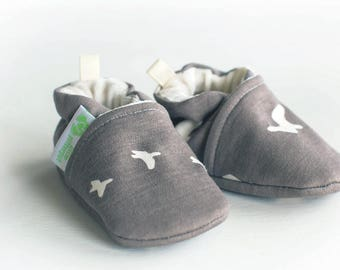 Organic Knits Vegan Flight in Shroom / All Fabric Soft Sole Baby Shoes / Made to Order / Babies