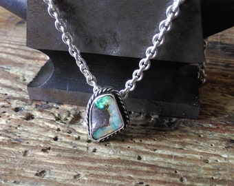 Opal pendant sterling silver handmade unique necklace