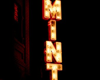 The Mint, Neon Sign, Night, Bar, Dark, Orange, Yellow, Nightlife, photograph
