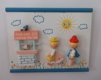 Vintage Jack and Jill 3D Wall Plaque