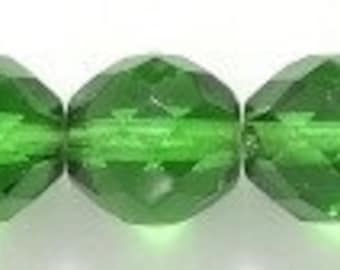 EVERGREEN faceted glass round beads (20) 8 mm Dark Christmas green