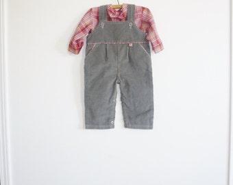Vintage Grey Corduroy Overalls Set