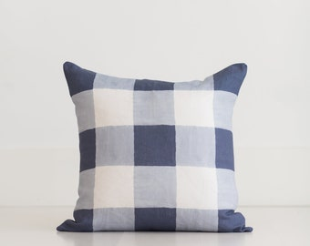 Blue Buffalo Check Throw Pillow by Whitney English, 100% Linen Blue and White Pillow